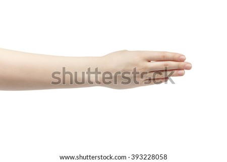 young woman right hand counting four isolated  on a white isolated background - stock photo