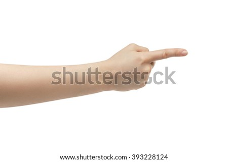 young woman right hand counting one or show direction isolated  on a white isolated background - stock photo