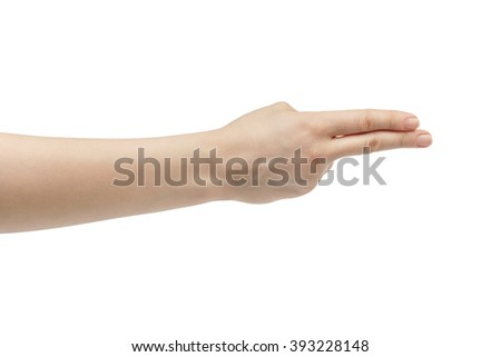 young woman right hand counting two isolated  on a white isolated background - stock photo