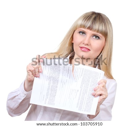 Young woman ripping paper isolated on white - stock photo