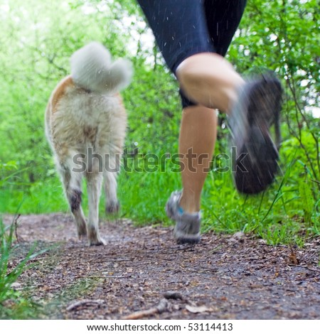 Young woman running with akita dog in summer forest, motion blur - stock photo