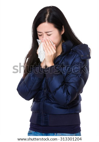 Young woman runny nose - stock photo