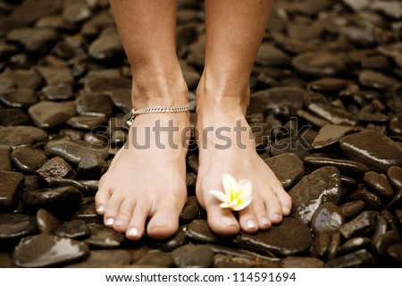 Young woman's feet standing on black natural stones and holding a small yellow flower between the toes. - stock photo
