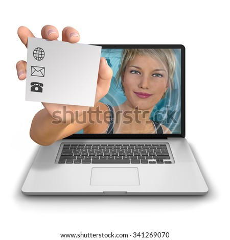 Young woman's hand reach out from inside a laptop computer holding a contact card with a logo with space for adding contact details. Photorealistic 3D rendered image isolated against white background