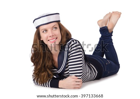 Young woman sailor isolated on white - stock photo