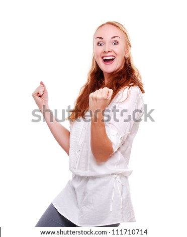 Young woman screaming of success