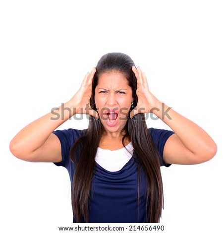 Young woman screaming with hands on head against white background - stock photo