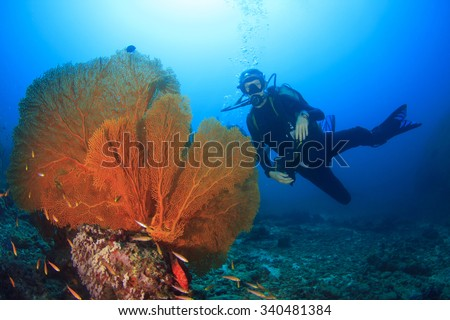 Young Woman Scuba Diver exploring underwater ocean - stock photo
