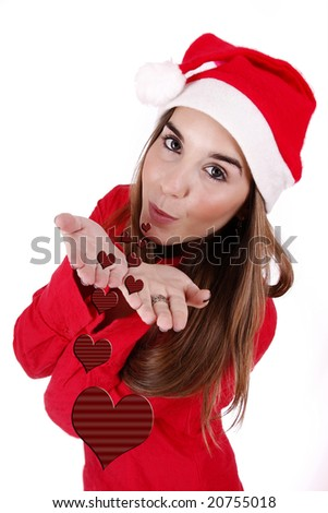 "Young woman sending ""love"" as a Christmas gift."
