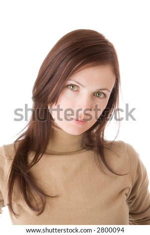 Young woman serious look - portrait isolated on white