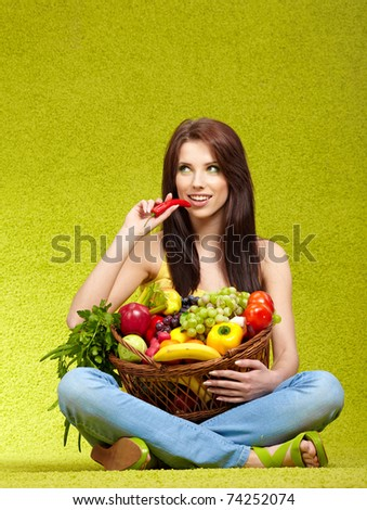 young woman shopping for vegetables