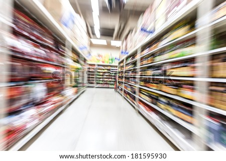 Young woman shopping in the supermarket,motion blur
