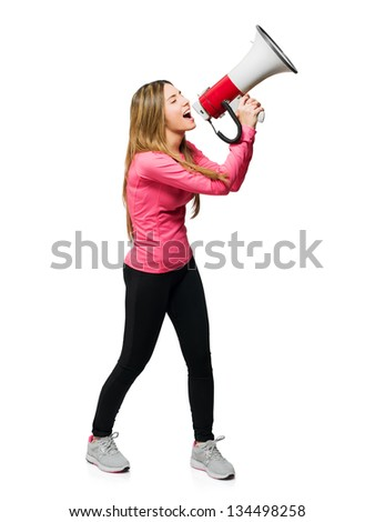Young Woman Shouting Through Megaphone Isolated On White Background - stock photo