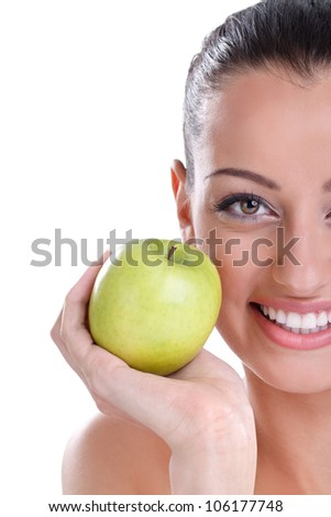 young woman shoving her perfect healthy teeth - stock photo