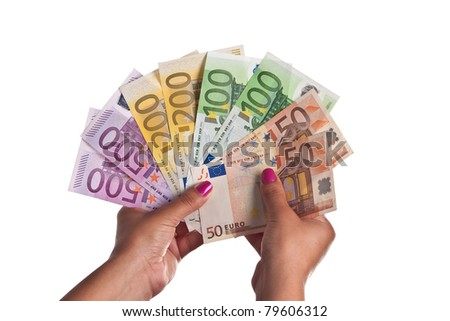Young Woman show a range of Euro Banknotes - stock photo