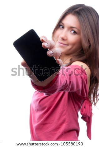 Young woman show display of mobile cell phone with black screen and smiling on a white background. Focus on hand with mobile phone