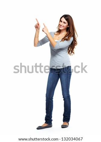 Young woman showing a copyspace. Isolated on white background.