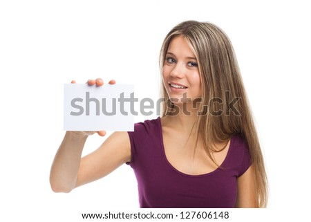 Young woman showing a white card, isolated on white