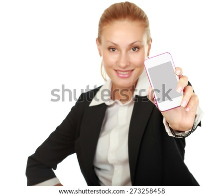 Young woman showing display of her new touch mobile cell phone. - stock photo
