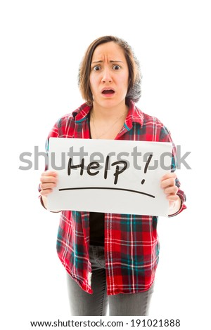 Young woman showing help sign - stock photo