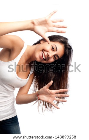 young woman showing her open hands isolated on a white background - stock photo