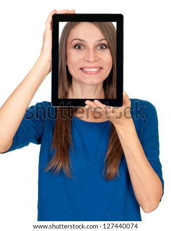 Young woman showing her picture in a tablet computer - stock photo