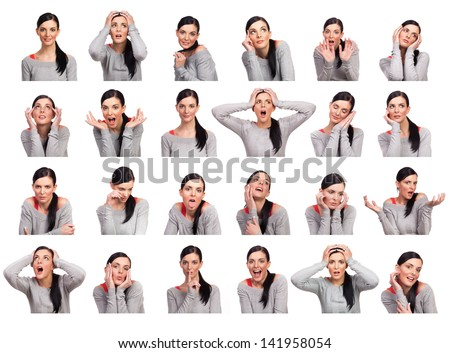 Young woman showing several expressions, isolated on white background. - stock photo