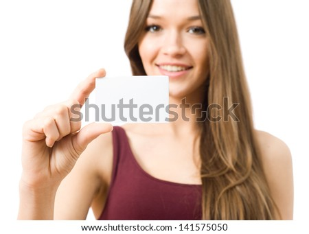 Young woman showing the business card - stock photo