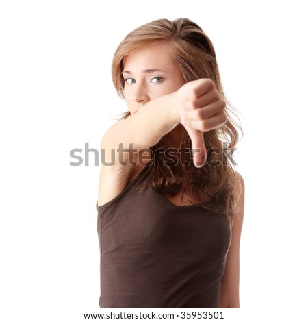 Young woman showing thumbs down isolated