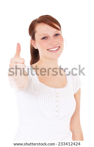 Young woman showing thumbs up. All on white background. - stock photo