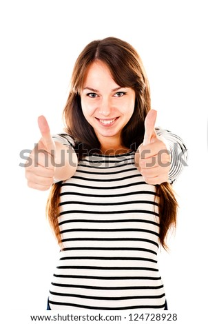 young woman showing thumbs up isolated on a white background - stock photo