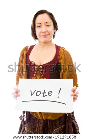 Young woman showing vote sign on white background