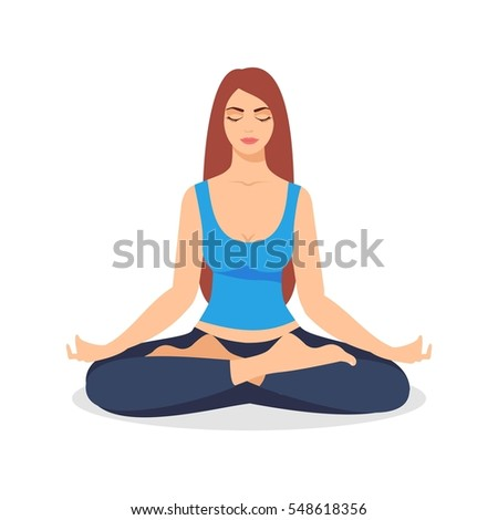 young woman sitting yoga lotus pose stock illustration 548618356 shutterstock. Black Bedroom Furniture Sets. Home Design Ideas