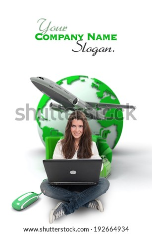 Young woman sitting on the floor with a laptop with the Earth a pile of luggage and an airplane at the background - stock photo