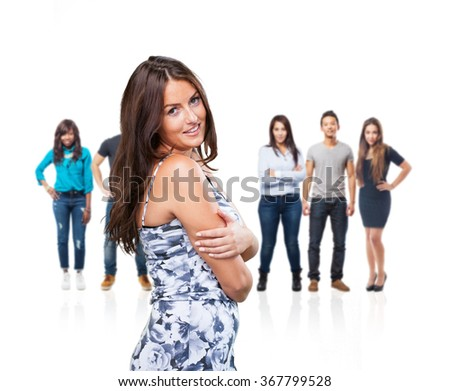young woman smiling on white - stock photo