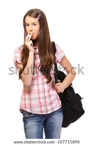 young woman smoking isolated on white - stock photo