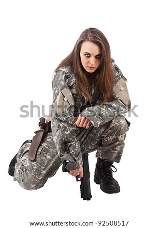 Young woman soldiers with gun, isolated on white background