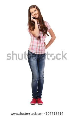 young woman speaking with her friend on phone - stock photo