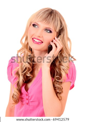 Young woman speaking with phone and smile isolated on white - stock photo