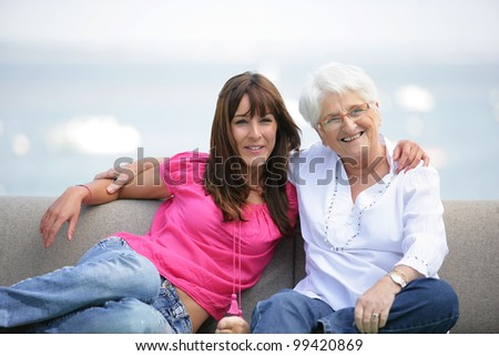 Young woman spending time with grandma