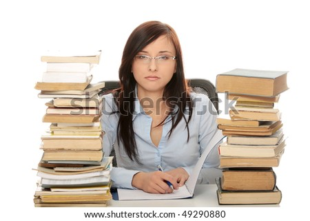 Young woman stack with books
