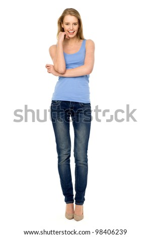young woman standing stock photo edit now 98406239 shutterstock