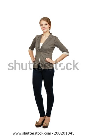 young woman standing in full length isolated on white background .