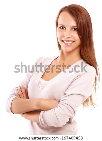 Young woman standing with folded arms isolated on white background