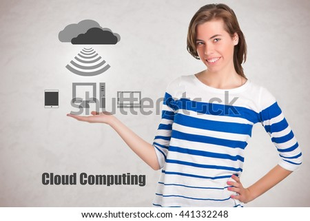 Young woman standing with her hand outstretched, as though she is presenting cloud computing - stock photo