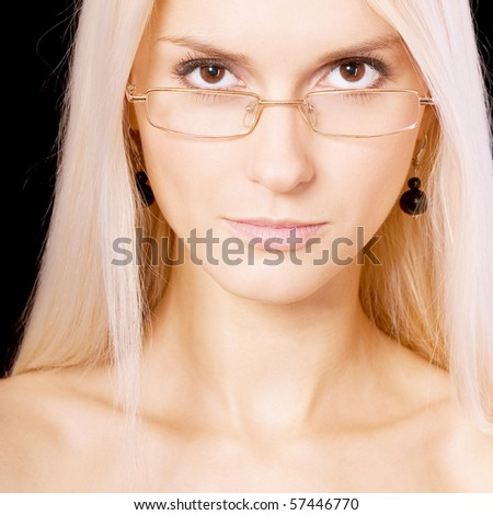 Young woman-student on white, isolated on black background.