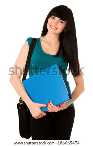 young woman student with schoolbag and folder isolated over white