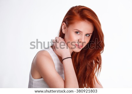 young woman studio fashion portrait