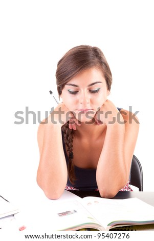 Young woman studying - stock photo