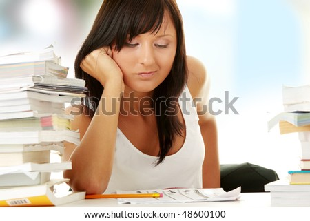 Young woman studying at the desk